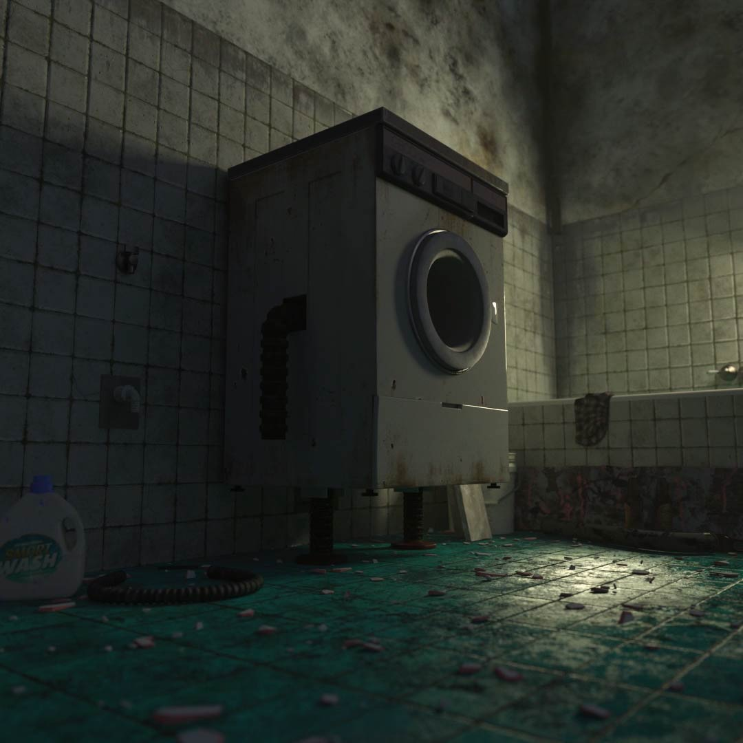3D Washing Machine standing in abandoned room